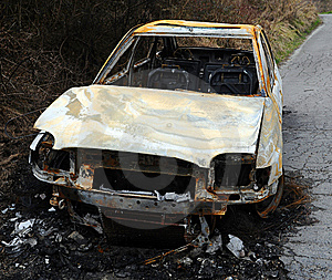 Car Burnt Out Wreckage Stock Image - Image: 13951351