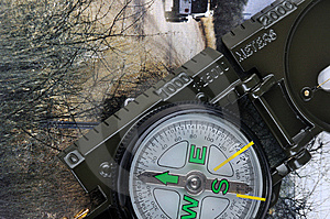 A Compass With Range Finder And Travel Image Stock Photography - Image: 13951452