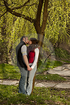 Young Couple In A Forest Stock Photo - Image: 13952350
