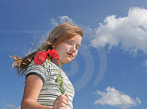 Girl With Poppies Over Sky Stock Photo - Image: 13954920