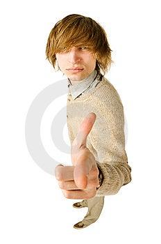 Funny Fisheye Portrait Of Man On White Royalty Free Stock Photo - Image: 13956075