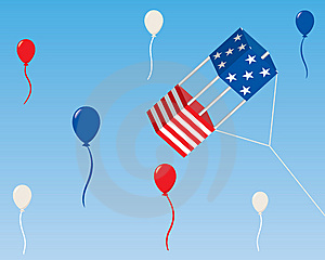 American Box Kite With Balloons Stock Images - Image: 13961824