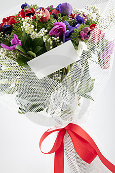 Bouquet Of Flowers With Blank White Card Stock Photos - Image: 13962713