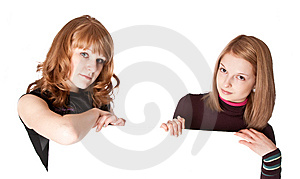 Two Girls With White Paper In Hands Stock Photos - Image: 13962803