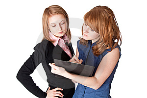 Two Smiling Girl With Folder Royalty Free Stock Images - Image: 13963449