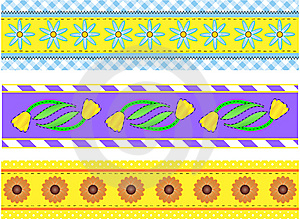 Jpg.  Borders With Flowers, Stripes, Dots And Ging Royalty Free Stock Photography - Image: 13964857