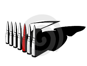 Bullets With Death Shadow Royalty Free Stock Photos - Image: 13966478