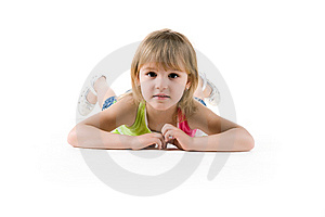 Cute Girl Lie On The Floor Royalty Free Stock Images - Image: 13966939