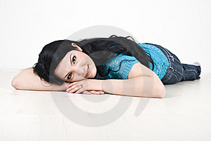 Beautiful Woman Lying Down On Floor Stock Images - Image: 13966954