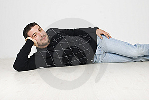 Cool Man Lying Down On Floor Royalty Free Stock Photo - Image: 13967005