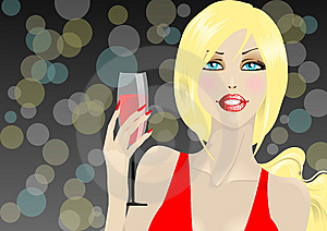 Glamour Girl With Glass Stock Photo - Image: 13970500