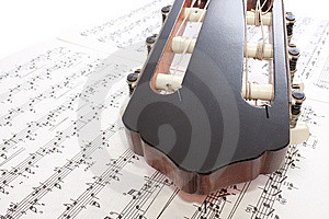 Closeup Guitar Headstock And Notes Stock Photo - Image: 13974350