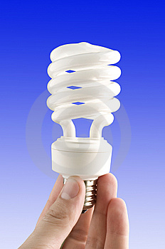 Eco Lamp In His Hand Stock Photo - Image: 13974730