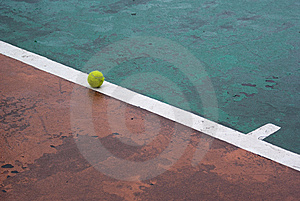Tennis Ball On A Line Royalty Free Stock Photo - Image: 13974735