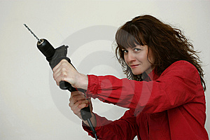 A Woman With A Drill Stock Images - Image: 13975854