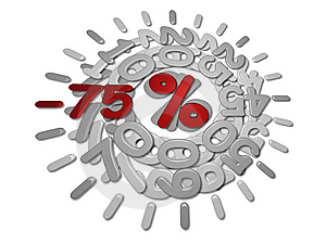 Discounts -75 Percent Stock Image - Image: 13981111