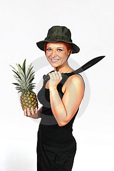 Girl With The Machete And The Rascal Royalty Free Stock Photos - Image: 13981248