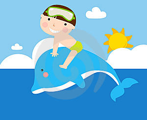Boy And Dolphin Stock Images - Image: 13981844