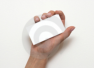 Hand Holding An Empty Business Card Over White Stock Images - Image: 13982354