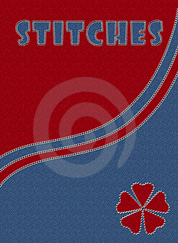 Blue And Red Jeans With Stitches Royalty Free Stock Photography - Image: 13984267