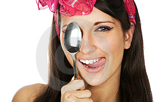 Pretty Smilimg Girl Holding A Sppon Royalty Free Stock Photography - Image: 13986647
