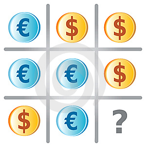 Tic Tac Toe Game With Dollars And Euros Royalty Free Stock Images - Image: 13987079