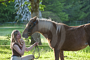 Woman And Shetland Pony Royalty Free Stock Images - Image: 13991539