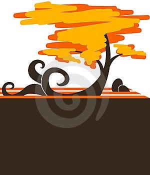 Tired, Autumn Tree. Sample Text Royalty Free Stock Photos - Image: 13994428