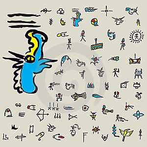 Pictograms Of Naxi Royalty Free Stock Photo - Image: 13994965