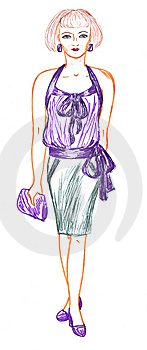 Woman And Fashionable Clothing, Sketch Royalty Free Stock Image - Image: 13996886