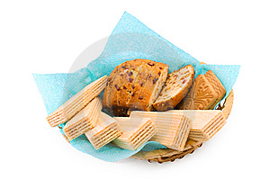 Wafers, A Fruitcake And Cookies Royalty Free Stock Image - Image: 13999016