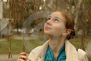 A Girl Under The Birch-tree Royalty Free Stock Photo - Image: 13999875
