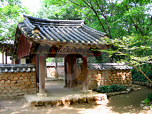 Entrance To A Traditional Korean Garden Stock Images