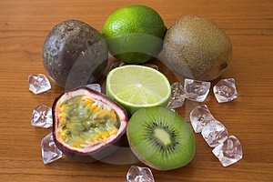 Kiwis, Limes & Passion Fruits Stock Image
