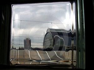 Railway Station Through The Glass Brick Free Stock Photos