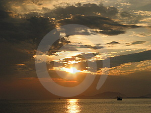 Sunset At Sea, East Of Thailand Stock Images