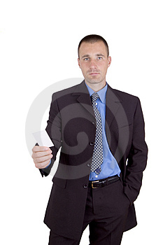 Business man with his card Royalty Free Stock Photography