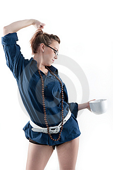 Coffee Girl Doing Morning Stretch Stock Photography - Image: 14005412