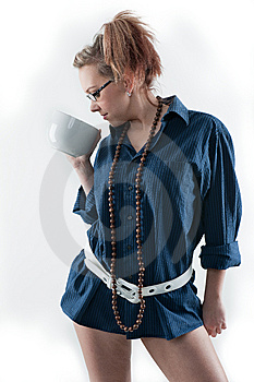 Coffee Girl Drinking Coffee Royalty Free Stock Photography - Image: 14005427