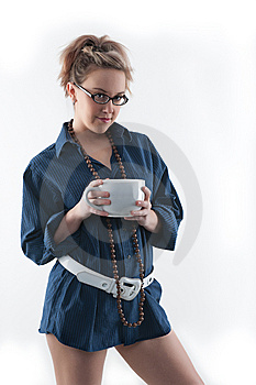 Coffee Girl Looking At You Stock Image - Image: 14005441