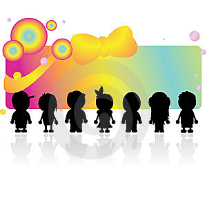 Silhouettes Children Stock Image - Image: 14006521