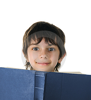 Cute Little Boy With A Book Royalty Free Stock Photo - Image: 14008795