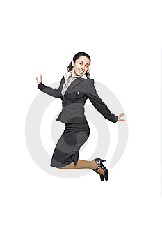 Jumping Businesswoman Stock Photography - Image: 14009772