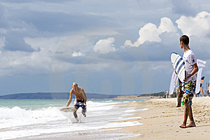 Two Yong Surfer Royalty Free Stock Image - Image: 14012196