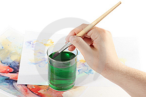 Finished Painted Picture With Painter Hand Stock Image - Image: 14013641