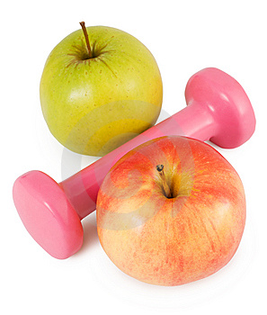 Pink Dumbbells And Apples Stock Photography - Image: 14014142