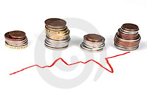 Business Graph And Coins Royalty Free Stock Images - Image: 14016249