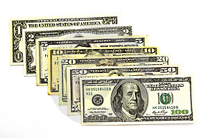 7 US BANK NOTES Stock Photography - Image: 14019822