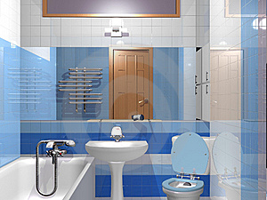 Light Blue Bath Room Stock Images - Image: 14023684