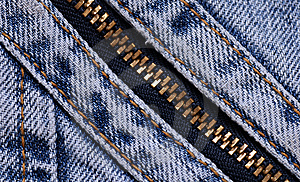 Blue Jeans Background With Zipper Royalty Free Stock Photos - Image: 14024598